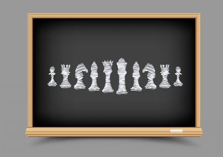 statuette: White drawing chess figures set collection on black education blackboard. Intellectual strategic lesson. Items for chessboard game