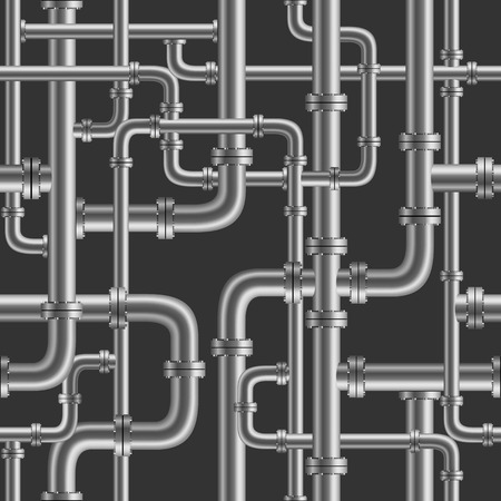project plan: Black pipe seamless on black background. Industry pump water gas oil gasoline diesel fuel supply system. Pipeline project plan. Easy to edit Stock Photo