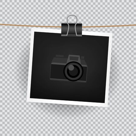 camera symbol: Paper square photo hang on the cord on transparent background. Empty exhibition of template to insert your photography. Camera symbol for default picture show Stock Photo