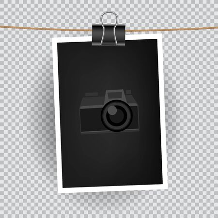 camera symbol: Paper vertical photo hang on the cord on transparent background. Empty exhibition of template to insert your photography. Camera symbol for default picture show