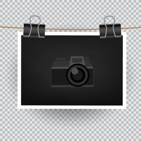 camera symbol: Paper horizontal photo hang on the cord on transparent background. Empty exhibition of template to insert your photography. Camera symbol for default picture show Stock Photo