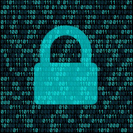 Gesloten transparant slot op blauwe cyber digitale codeachtergrond. Vector Illustratie