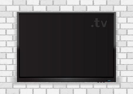 Flat TV on white walll