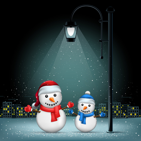 Snowmans standing on lamp lights. Christmas snowflakes falls on night city background. Large electric pillar light up snowman Illustration