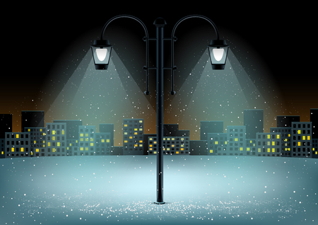 Electric pillar and falling snow in lamps lights. Christmas snowflakes falls on night city background Illustration