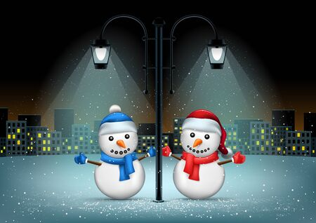 Snowmans standing in pillar lamps lights. Christmas snowflakes falls on night city background