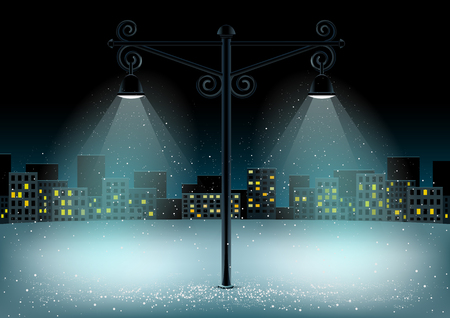 Electric pillar lamps lights and falling snow. Christmas snowflakes falls on night city background