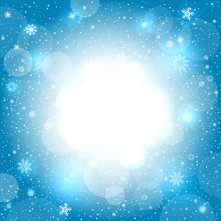 Glowing snow circle blue bokeh background. Falling snowflakes azure backdrop. Christmas decoration design template