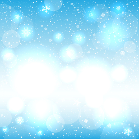 Glowing snow circle blue bokeh background. Falling snowflakes nature clouds backdrop. Christmas decoration design template