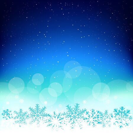 Space Christmas blue glowing sky background. Falling snowflakes azure backdrop. Christmas winter snow decoration design template
