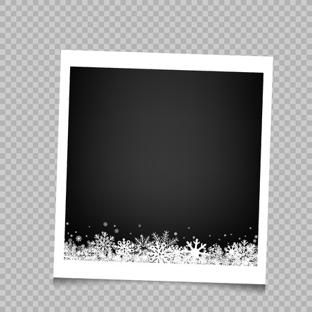 Christmas photo frame with snow and shadow on transparent background. Photograph empty blank holiday celebration template. Retro memory picture