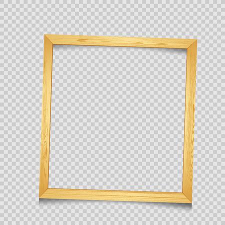 Wooden square art frame with shadow on transparent background. Modern border shape photo interior furniture framework. Portfolio template Illustration