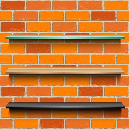 Store showcases template brick background