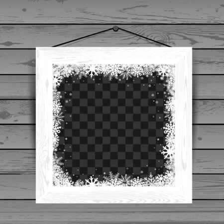 Winter white wooden photo frame Stock Illustratie