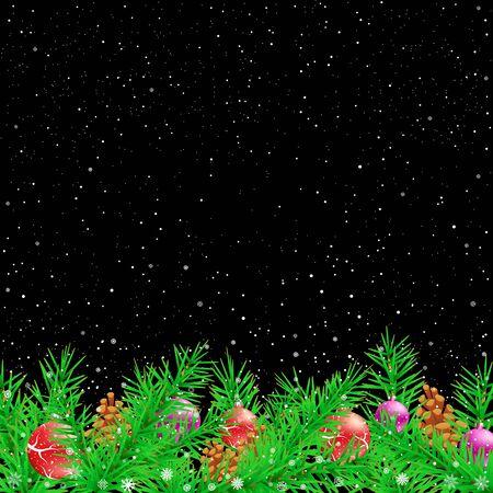 Spruce Christmas black night illustration.