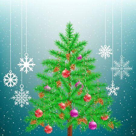Christmas tree and big hang snowflakes
