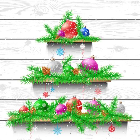 Christmas tree of wooden shelves