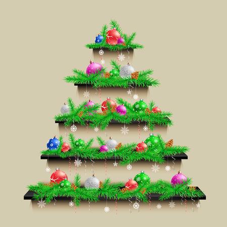 Shelves Christmas tree Vector illustration. Illustration