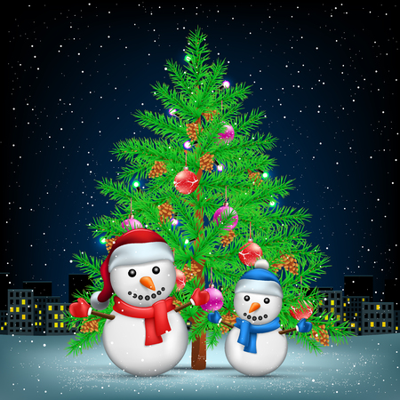 Christmas tree snowmans and night city