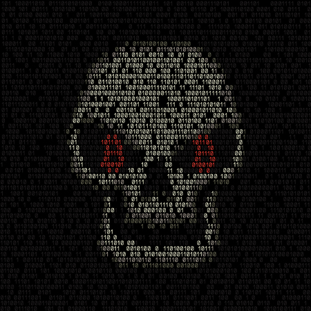 Bitcoin code eyes hacker skull on the binary dark coding texture background. Cyber crime hacking illustration. Money security crypto currency hack attack Stock Illustratie