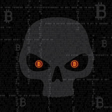 Bitcoin code hacked eyes skull on the binary dark coding hacker face texture background. Cyber crime hacking illustration. Money security crypto currency hack attack Иллюстрация