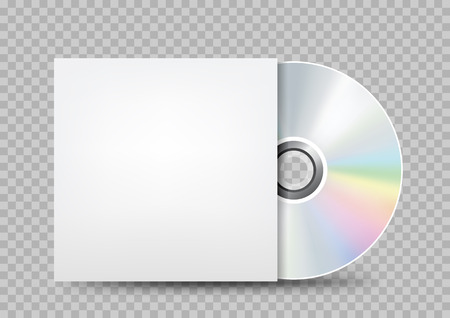 Tampa branca do disco compacto transparente.