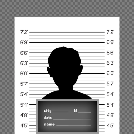Prisoner silhouette front with police data board on wall scale background