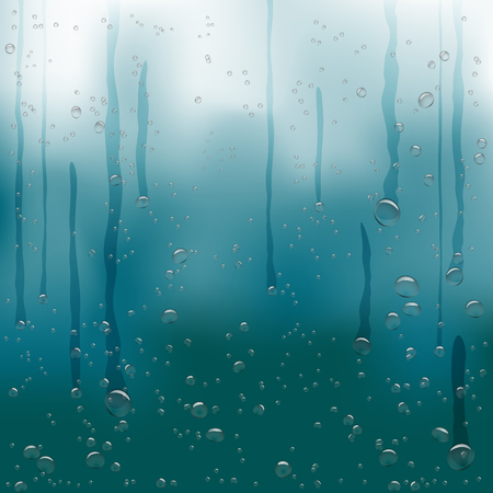 rain water drops flow down blue background Ilustracja