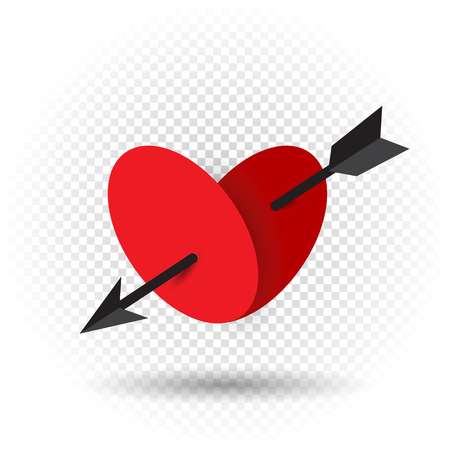 Beautiful heart pierced by an arrow of Cupid with shadow on transparent background. Red romantic sign Valentines day symbol.