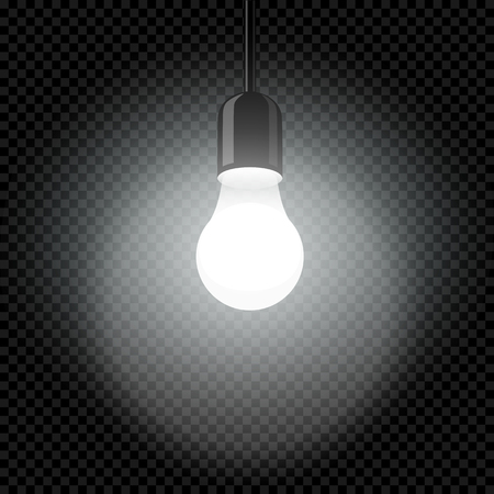 Electricity light bulb in dark template with glowing bright lights on black transparent background. Idea science symbol vector illustration Illustration