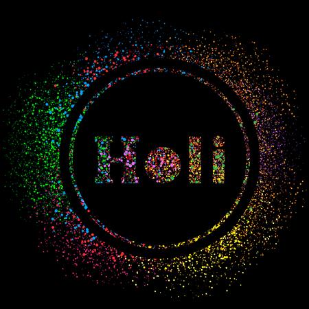 Happy Holi colors template on dark black background. Illustration
