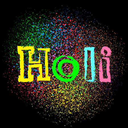 Happy holi colors lettering text message on dark black background. Phagwa festival paints color confetti tinsel sequin design. Circles round holiday art backdrop
