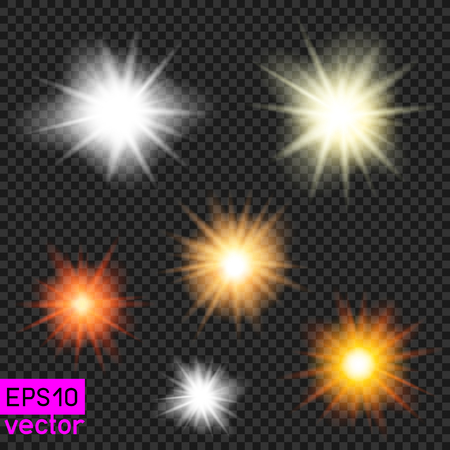 Set of vector suns or lamps light template on dark transparent background. Make your photos sunny. Put shiny sunbeam rays lights on photo or illustration, make beautiful flash brightness