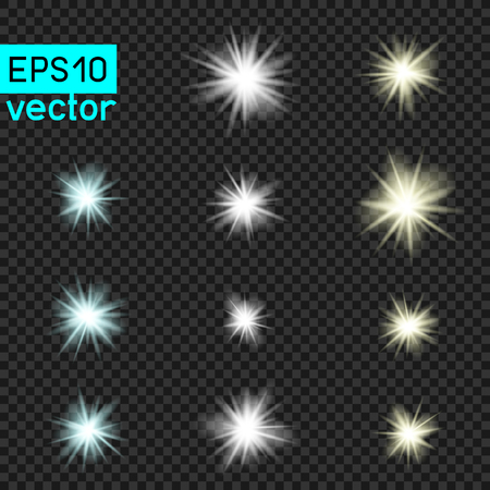 Lamps or star vector light set template on dark transparent background. Shiny flash lamp concept collection.