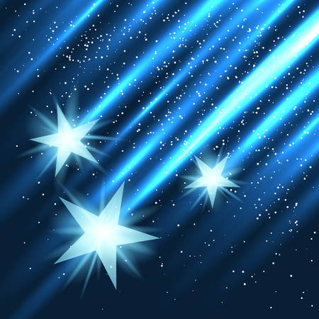 Star fall on blue light rays background.