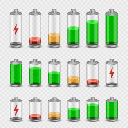 Battery accumulator electricity charger icon set on transparent background. Glossy batteries collection with green, red, orange indicator color charge. Easy to edit width height thickness and charge.