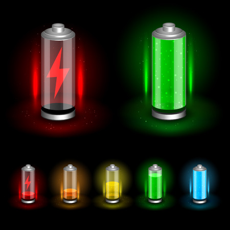 Battery accumulator icon set on dark black background. Glossy batteries collection with green, red, orange, yellow, blue indicator color charge. Easy to edit width height thickness and charge. Illustration