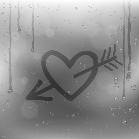 Cupid arrow heart draw on rainy window. Sadness romantic rain template on glass surface Stock Illustratie