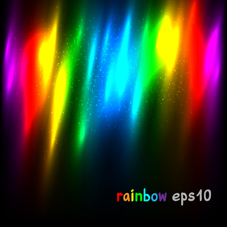 Rainbow colors lights template background. Natural radiance iridescent vector illustration dark backdrop