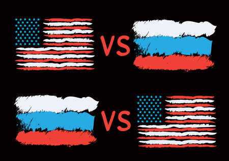 Conflict between USA and Russia. Rectangular flags on dark background. Cold war illustration