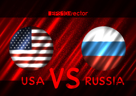 USA VS Russia conflict. Round flags on dark red background. Cold war illustration Çizim