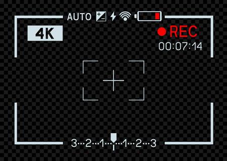 Trou d'ouverture du viseur de la caméra vidéo de résolution 4K sur fond sombre transparent.