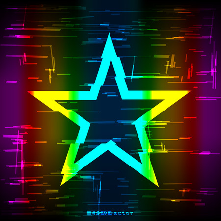 Glitch colorful rainbow geometric star shape template. Illustration