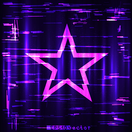 Glitch colorful blue purple and pink geometric star shape template.