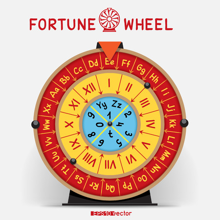 Wheel of fortune template with letters roman numerals and shadow on white back. Horoscope fate concept gaming object.