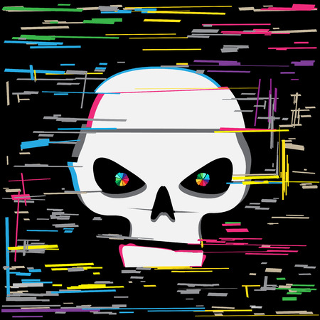 White glitch hack skull and colors line interference on dark black background. Computer crime hacker attack illustration