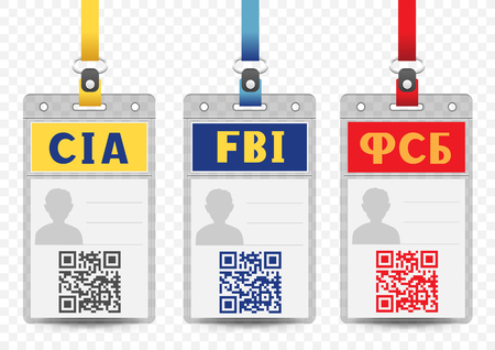 Security Service vertical badge empty template with blue yellow and red title QR code and lanyard on transparent background. Identification agent FBI CIA FSB id card mockup set 矢量图像