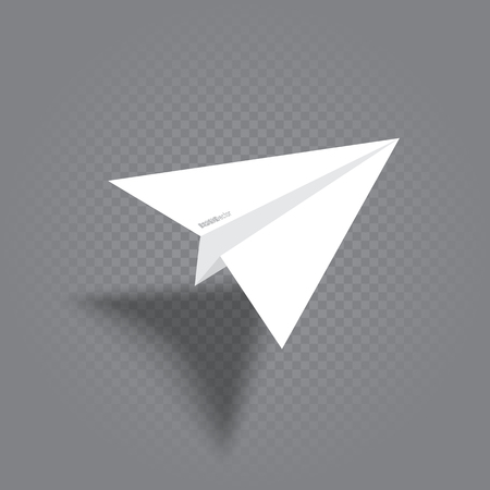 white origami plane with shadow Illustration