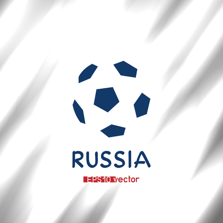 Russia 2018 football tournament symbol. Soccer championship logo. Pentagonal ball game competition sign