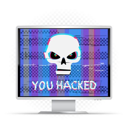 You hacked text on white monitor with blue glitch background. Grumpy white hacker skull with hack message on device. Computer crime attack illustration
